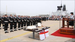 """Christening"" ceremony onboard HMS Diamond"