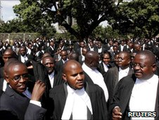 Lawyers striking against violence