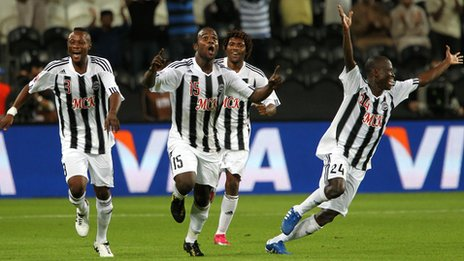Mazembe celebrate the goal that took them to the Club World Cup final