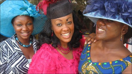 Ghanaian women who dressed up to watch the royal wedding on 29 April 2011