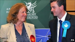 Labour victor Julie Morgan with her beaten Conservative rival Jonathan Morgan