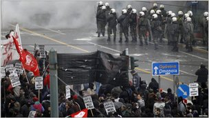 Police secure a street in Athens, 15 December, 2010