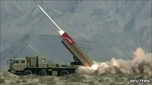 Pakistan&#039;s Hatf IX (NASR) missile being fired during a test in April 2011. 
