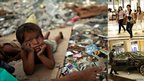 Poor child lies surrounded by rubbish; wealthy Indians shop at luxury mall