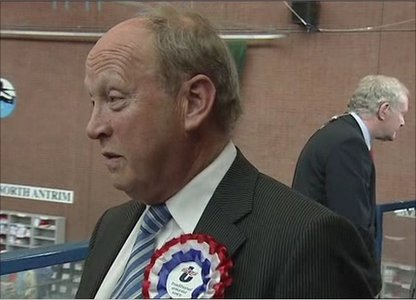 Back to back: Jim Allister, TUV and Martin McGuinness, Sinn Fein at the count