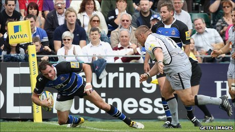 Bath's Matt Carraro scores against Newcastle