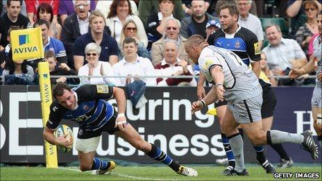 Bath's Matt Carraro scores against Newcastle
