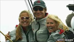 Alinghi Syndicate head Ernesto Bertarelli (C) with wife Kirsty (R) and her sister Donna (L) on February 20, 2003.