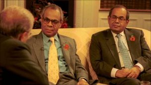 Hinduja brothers - Srichand and Gopichand Hinduja - being interviewed by Frost, David on BBC Breakfast with Frost, file pic 2000