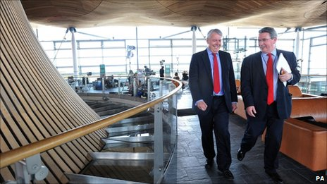 Carwyn Jones (left) in the Senedd building