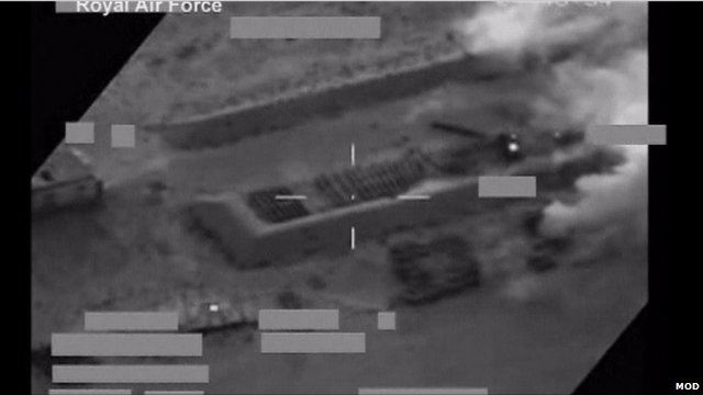 CCTV image of military target in Libya before RAF Tornadoes destroy it, courtesy Ministry of Defence