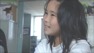 Ena Ueki, in her temporary home at the school in Ishinomaki