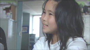 Ena Ueki, in her temporary home at the school in Ishinomaki