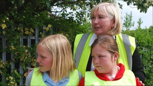 Sue Boyson teaching pupils road safety