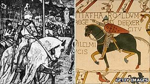Battle of Bannockburn engraving and the Battle of Hastings on the Bayeux Tapestry