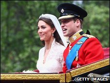 The Duke and Duchess of Cambridge travel by carriage after their wedding, 29 April 2011