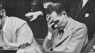 Rudolf Hess pictured at Nuremberg trials