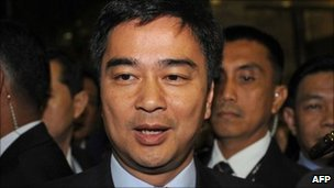 Thai Prime Minister Abhisit Vejjajiva, pictured in Jakarta on 7 May 2011
