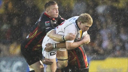 Ulster's Nevin Spence on his way to scoring against Newport Gwent Dragons