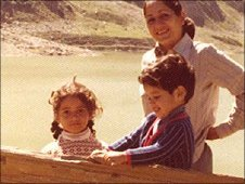 A young Mishal Husain (left) with family members