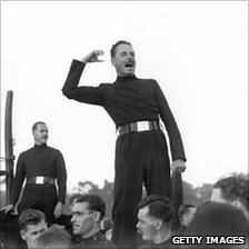 Sir Oswald Mosley talking at an open air meeting in 1934