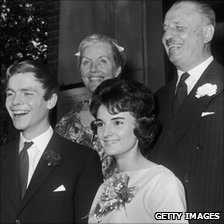 Max Mosley marries Jean Taylor at the Chelsea Register Office in July 1960. His parents, Diana and Oswald Mosley, are pictured behind.