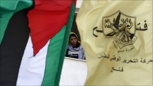 Palestinian and Fatah flags
