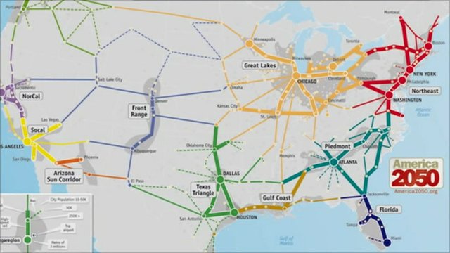 Future projection US rail map