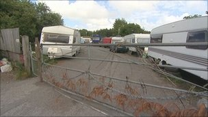 Traveller camp at South Brent