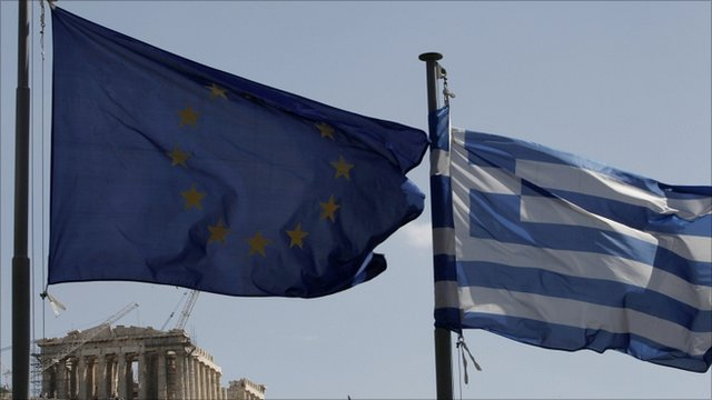 EU and Greek flags