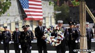 Barack Obama lays a wreath at Ground Zero