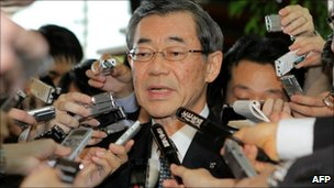 Tepco President Masataka Shimizu, after meeting the economy minister in Tokyo on 10 May 2011