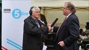 5 live's Peter Allen interviewing Sir Digby Jones