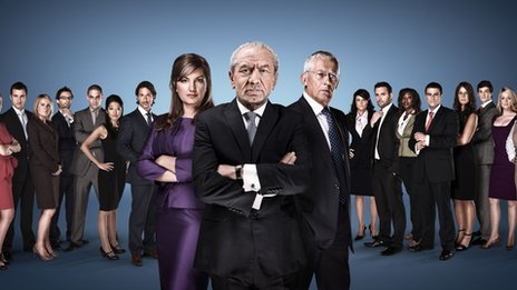 Karren Brady, Lord Sugar and Nick Hewer with this year&#039;s candidates