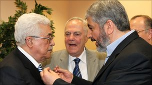Mahmoud Abbas and Khaled Meshaal