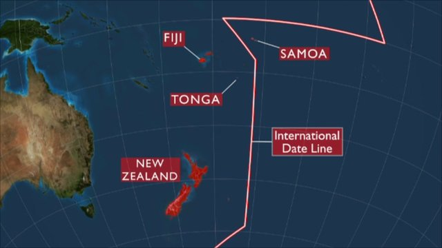 Map of international date line