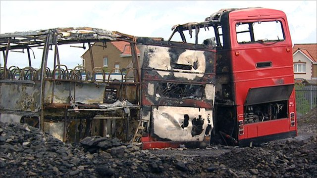 Buses were damaged in the fireat the depot