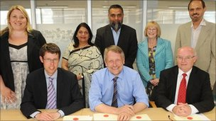 Back row - left to right - Councillor Sarah Russell, Councillor Manjula Sood, Councillor Mohammed Dawood,  Councillor Vi Dempster,  Councillor Piara Singh Clair.  Front row - left to right - Councillor Rory Palmer, Sir Peter Soulsby, Councillor Ted Cassidy.