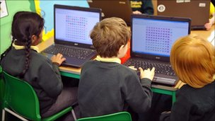Pupils using computers