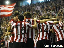 Athletic Bilbao fans celebrate at San Mames
