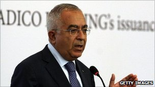 Palestinian Prime Minister Salam Fayyad presenting the bond sale