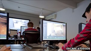 Students working at Escape Studios