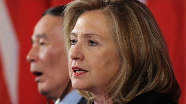 US Secretary of State Hillary Clinton as Vice Premier Wang Qishan