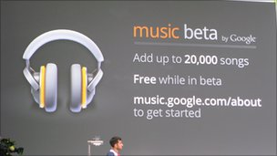 Music beta graphic at the Google IO conference