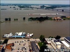 A photograph of the Mississippi River from an office building in Memphis