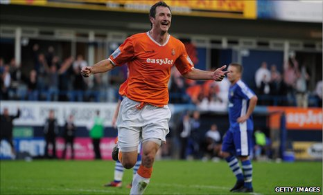Zdenek Kroca celebrates his goal