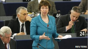 Baroness Ashton addressing MEPs, 11 May 11