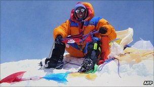 Apa Sherpa sits at the summit of Mount Everest (file photo)