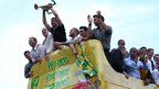 Norwich City open top bus parade celebrating their return to the Premier League
