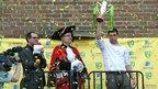 Grant Holt (right) celebrates during Norwich City's Premier League promotion party